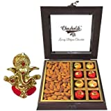 Chocholik Wooden Chocolate Box With Delicious Almonds With Ganesha Idol - Chocholik Premium Gifts