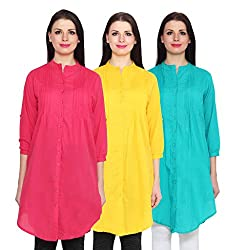 NumBrave Darkpink, Yellow & Blue Long Cotton Top (Pack of 3)