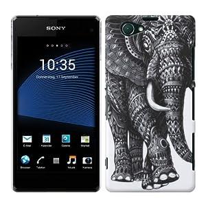 kwmobile® Hardcase Elefanten Design für Sony Xperia Z1 Compact in Schwarz Weiß