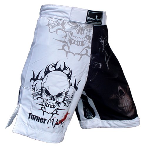 Turner MAX MMA Shorts for MMA fighting Kick Boxing Training Grappling and Cage Fight White Black Medium