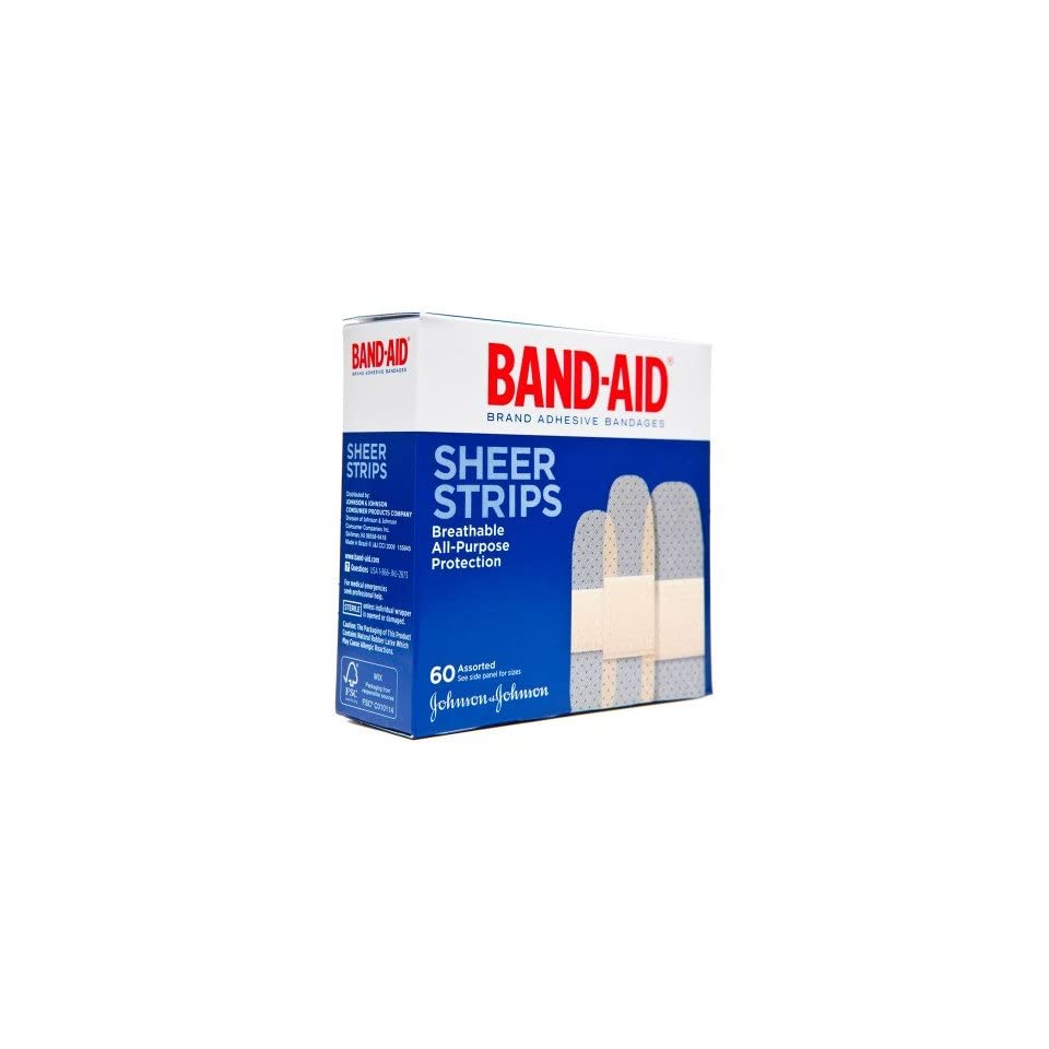 Band Aids  Sheer Adhesive Bandages, Assorted Sizes (60 count)