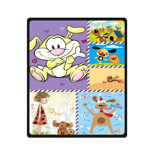 "Personalized Cute Dogs Jigsaw Blanket 50""X 60""(Medium) front-1008157"