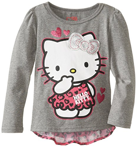 Hello Kitty Little Girls' Screen Print Chiffon Back Top, Heather Gray, 5 front-730497