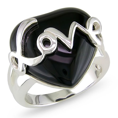 Sterling Silver Heart Shaped Onyx Gemstone with Silver Love Ring