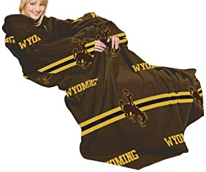 NCAA Wyoming Cowboys Comfy Throw Blanket with Sleeves, Stripes Design by Northwest