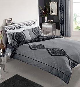 black dark grey printed king size duvet cover bed set kitchen home. Black Bedroom Furniture Sets. Home Design Ideas