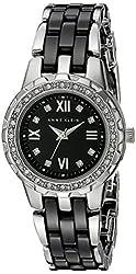 Anne Klein Women's 10/9457BKSV Black Ceramic Bracelet Swarovski Crystal Accented Watch
