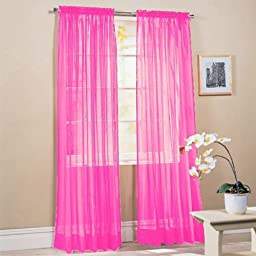 2 Piece Solid Hot Pink Sheer Window Curtains/drape/panels/treatment 60\