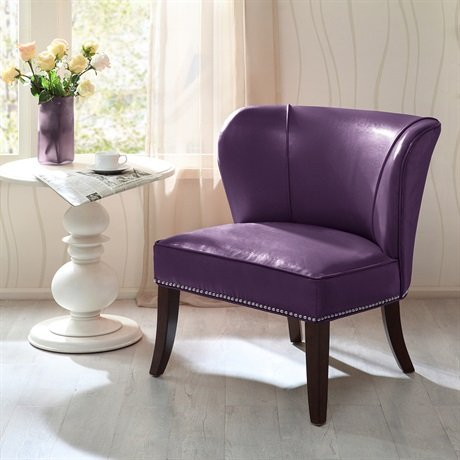 Universal Lighting And Decor Hilton Wingback Faux Leather Accent Chair, Plum