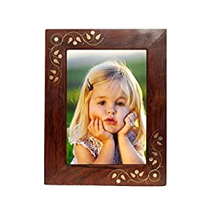 Pindia Handmade Wood Brass Decorative Picture Photo Frame