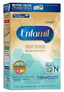 Enfamil Newborn Infant Formula, Refill Pack, 16.6 Ounce  2 Count (Packaging May Vary)