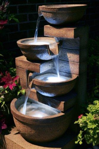 Fontaine Cascade Kendal 3 Niveaux avec Éclairage Halogène