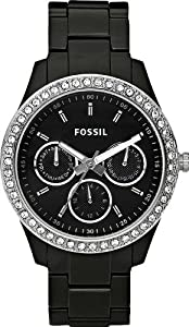 Fossil Women's ES2157 Black Resin Bracelet Black Glitz Analog Dial Multifunction Watch