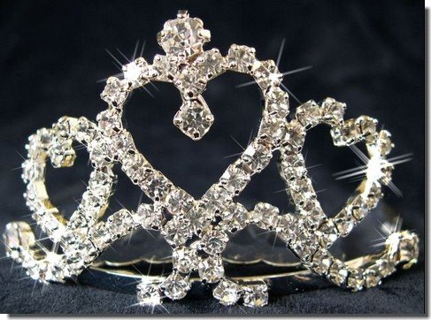 Bridal Comb, Birthday Tiara With Crystal Heart 40654