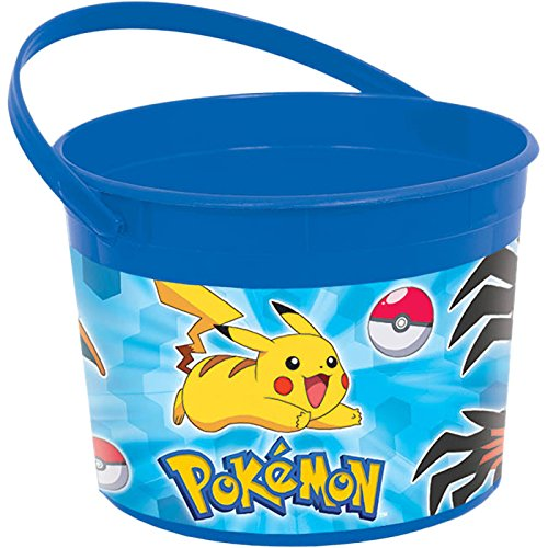 Amscan Fun Pikachu & Friends Plastic Birthday Party Favor Container (1 Piece), Blue, 4 1/2 x 6 1/4""