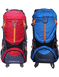 Gleam 0109 Climate Proof Mountain 75 Ltrs Red & Sky Blue Rucksack Backpack With Rain Cover (set Of 2 Combo)