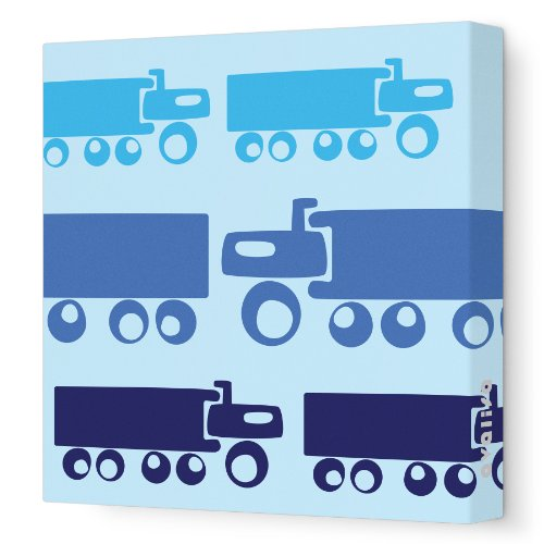 "Avalisa Stretched Canvas Nursery Wall Art, Truck, Blue, 28"" X 28"""