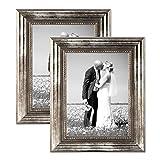 2er Set Bilderrahmen 30×40 cm Silber Barock Antik Massivholz mit Glasscheibe und Zubehör / Fotorahmen / Barockrahmen