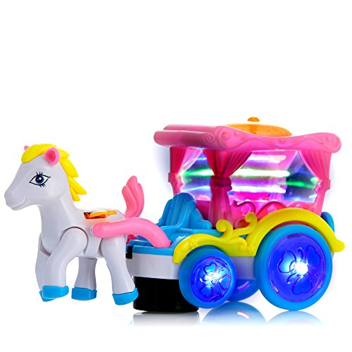 Classic Glow Walking Horse And Carriage Toy with Real Horse Sounds and Lights for Kids Boys and Girls (Old Baby Carriage compare prices)