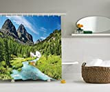 Ambesonne Alta Pine Forest Design Collection, Rainforest River and Rocky Mountains Scenery Siberia Whitewater Picture, Polyester Fabric Bathroom Shower Curtain Set with Hooks, Blue Green
