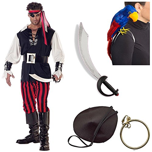 Cutthroat Pirate Adult Costume with Sword, Pirate Parrot, Patch and Earring (XL)