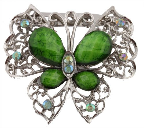Ladies Silver with Green Butterfly Brooch & Pin Pendant with Pear Shape Stones