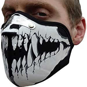 Skeleton Skull Jaw Motorbike Motorcycle Biker Bicycle Cyclist Mountain BMX Bike Filter Face Mask Airsoft Fancy Dress Costume Halloween by Masca