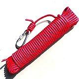 クライミング ロープ 8mm 径 全長 20m 登山 ガイロープ アウトドア サバゲー 縄 綱 (赤)