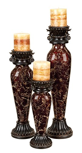 Extraordinary Set of Gothic Inspired Candle Holders Featuring Elegant Marble Aspect Stands