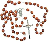 Catholic Gift Mens Light Brown Natural Carved Wood Bead Silver Plate Rosary Necklace with Blessed Madonna Sacred Heart Centerpiece