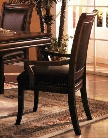 Set of 2 old west style solid wood dining arm chairs w for Wood dining chairs with leather seats