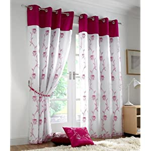 Thai Silk Pleated Drapery Curtain Panel in Two-tone Pale Pink and