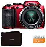Fuji FinePix S4800 Compact Digital Camera - Red (16 MP, 30x Optical Zoom) 3-Inch LCD with 8GB Class 10 Memory Card and Bridge Case