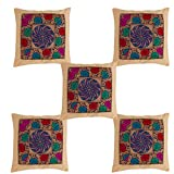 Myhome Trendy Beige Color With Brocade And Silky Cushion Cover(Set Of 5)16x16 Inch