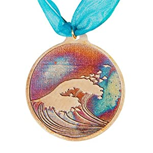 Hokusai Wave Ornament with Ribbon