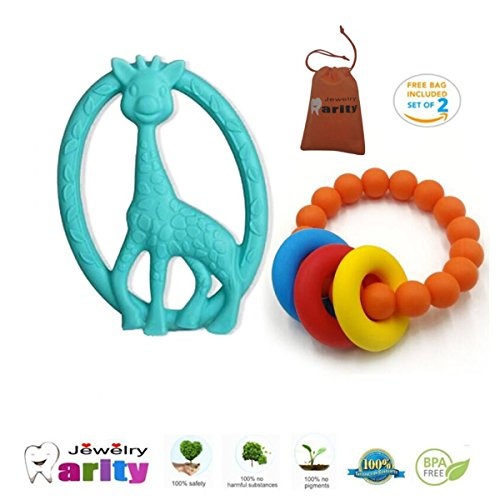Silicone Baby Teething Nursing giraffe toy and bracelet Fashion able baby Safe For Mom To Wear,BPA Free Chew Beads , Best Teething toy!Baby Teether Toys(2 pack)