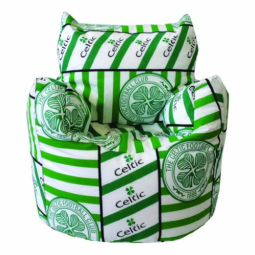 Childrens Celtic FC Print Filled Bean Chair, White and Green Celtic FC Design. Great for Toddlers.