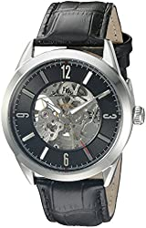 Lucien Piccard Men's LP-10660A-01 Loft Stainless Steel Automatic Watch with Black Leather Band