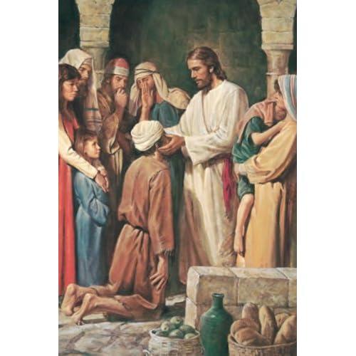 "11"" X 17""] Christ Healing a Blind Man By Del Parson.: LDS, The Church"