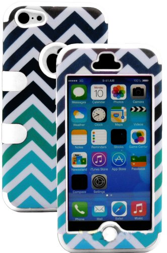 Mylife (Tm) White + Colorful Chevron Print 3 Layer (Hybrid Flex Gel) Grip Case For New Apple Iphone 5C Touch Phone (External 2 Piece Full Body Defender Armor Rubberized Shell + Internal Gel Fit Silicone Flex Protector + Lifetime Waranty + Sealed Inside My