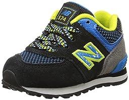 New Balance KL574I Outside Pack Classic Running Shoe (Infant/Toddler), Black/Blue, 2 W US Infant