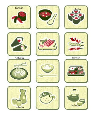 "Wallmonkeys Peel and Stick Wall Graphic - Japanese Sushi-bar or Restaurant Icons | BAMBOO Series - 24""H x 20""W"