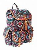 New Ladies Girls Designer Canvas Backpack Rucksack School College Travel Gym (Ameba Multi)