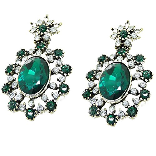 Yazilind Stunding Gold Plated Dark Green Crystal Hollow Out Flower Dangle Stud Earrings