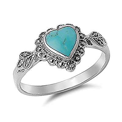Sterling Silver Simulated Turquoise Vintage Heart Promise Ring