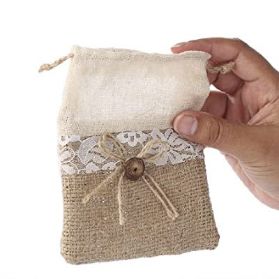 Set of 12 Natural Jute Burlap Bags with Decorative Lace Accents for Weddings, Favors, and Embellishing