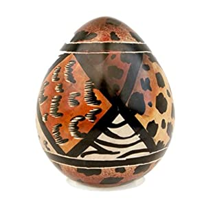 Animal Print Design Stone Carving Egg African Art Decor Gifts