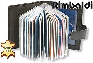 Rimbaldi - XXL-Kreditkartenetui mit 19 Kartenfächer aus weichem, naturbelassenem Kalbsleder in Schwarz