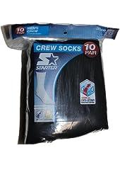 Starter 10-Pair Men's Crew Socks - Black 6-12