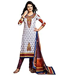 Taos womens pure cotton salwar suits for women New Arrival latest 2016 dress material party wear dresses Unstitched(1311white red blue)